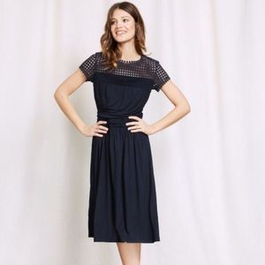 Boden Navy 8 Angeline Jersey Dress Eyelet Midi